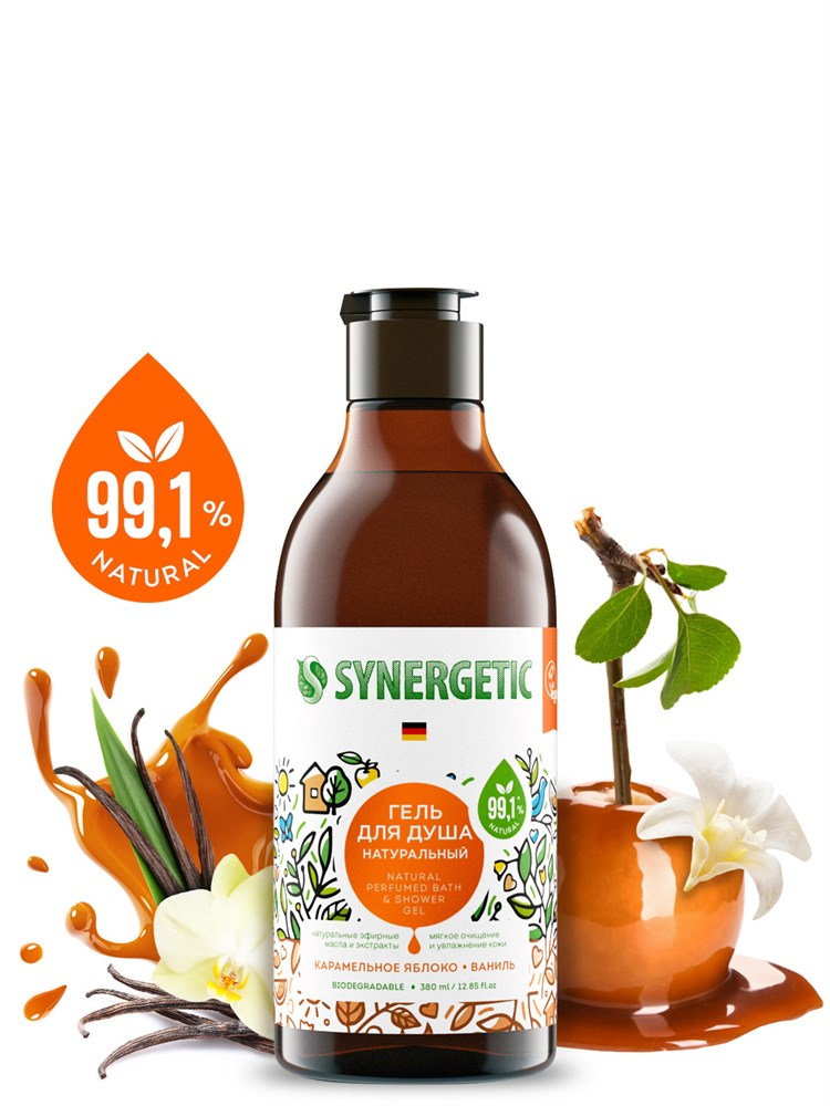 Биоразлагаемый натуральный гель для душа SYNERGETIC Карамельное яблоко и ваниль, 0,38л