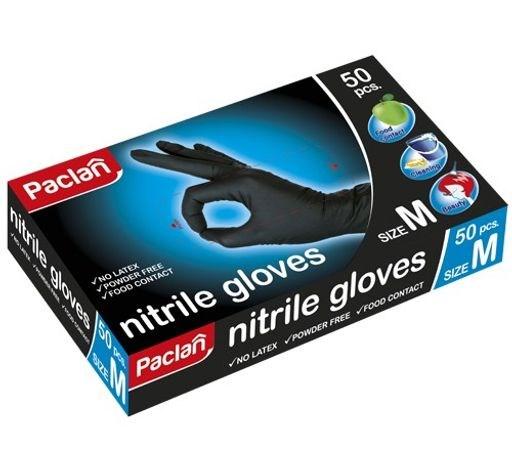 Перчатки нитриловые черные Paclan (M), 50 шт. - фото 6150