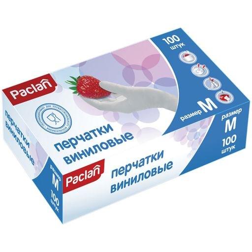 Перчатки виниловые (M) 100шт. - фото 6206