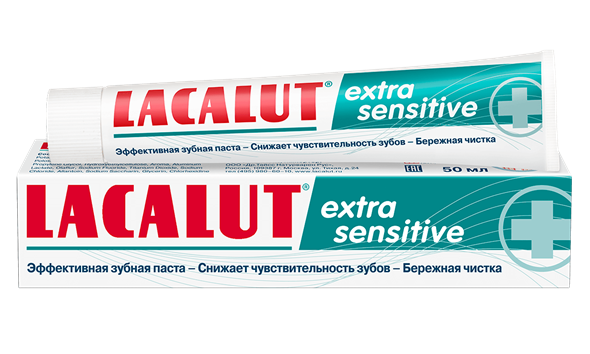 Lacalut extra sensitive зубная паста, 50 мл - фото 7323