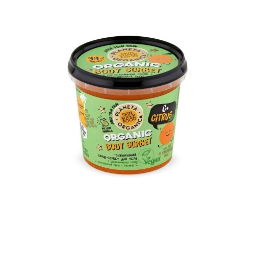 "Planeta Organica / Skin Super Food / Скраб-сорбет для тела Тонизирующий ""C+ Citrus"",  485 г - фото 7498"