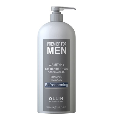 OLLIN PREMIER FOR MEN Шампунь для волос и тела освежающий 1000мл/ Shampoo Hair&Body Refreshening - фото 8184