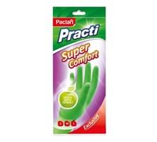 Перчатки резиновые Super Comfort c ароматом зеленого яблока (L) зеленые, 1 пара