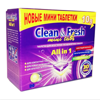 "Таблетки для ПММ ""Clean&Fresh"" All in 1  mini tabs (midi), 30 шт"